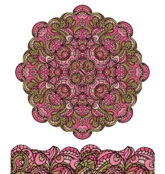 Abstract ethnic mandala seamless borderCute vector image vector image