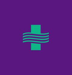 abstract minimalist medical cross logo design vector image
