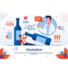 Advertising poster alcoholism lettering cartoon vector