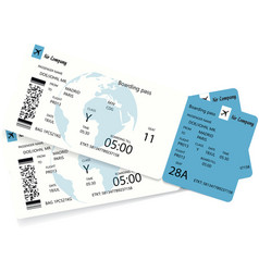 Airline boarding pass or airplane ticket vector