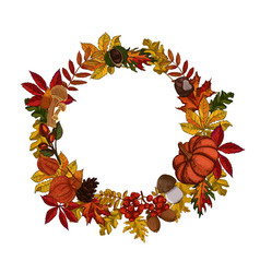 autumn leaves wreath isolated on white background vector image