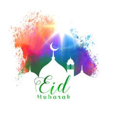 beautiful eid mubarak islamic festival greeting vector image