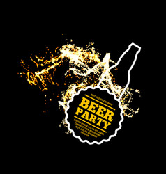 beer party splash of beer with bubbles on a black vector image