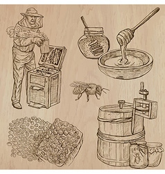 Bees beekeeping and honey - hand drawn pack 11 vector