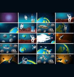 Big set space background scenes vector