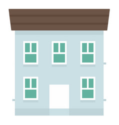 blue city house icon flat style vector image