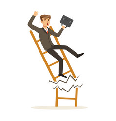 businessman or manager fall down of broken career vector image