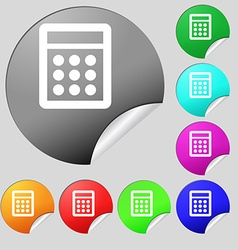 Calculator sign icon Bookkeeping symbol Set of vector