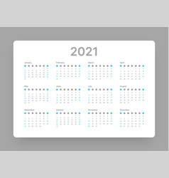 calendar for 2021 year week starts on sunday vector image