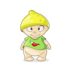 Cartoon boy with hat lemon vector