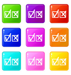 Checkmark to accept and refusal icons 9 set vector