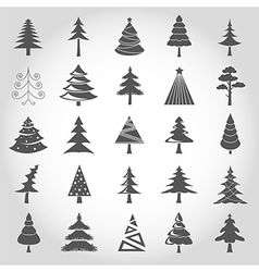 Christmas tree icon set Flat design Monochrome vector