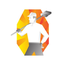 cleaner with broom looking to side retro vector image