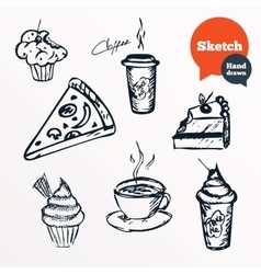 Coffee cup and hot tea milkshake drinks vector