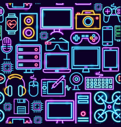 computer technology neon seamless pattern vector image