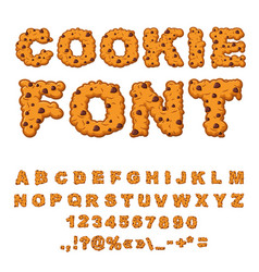 Cookies font biscuits with chocolate drops vector