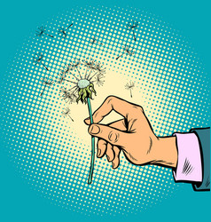 Dandelion in a man hand vector