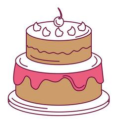 Delicious cake with cherry celebration icon vector