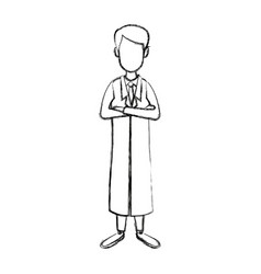 Doctor medical staff folded arms and stethoscope vector