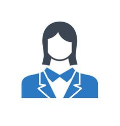 employee woman glyph flat icon vector image