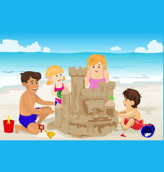 Family building sand castle vector