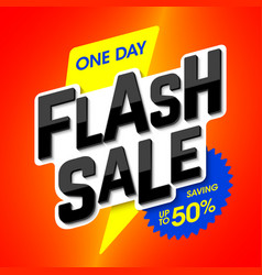 Flash sale bright banner one day special offer vector