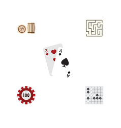 flat icon entertainment set of gomoku lottery vector image