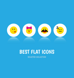 flat icon expression set of caress asleep vector image