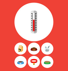 flat icon pets set of dog food cat eatin vector image
