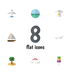 Flat icon season set of sundae recliner coconut vector