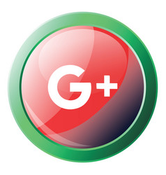 google plus sign inside a green round frame icon vector image