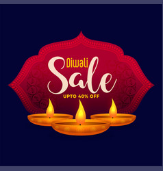 Happy diwali sale background in indian theme style vector