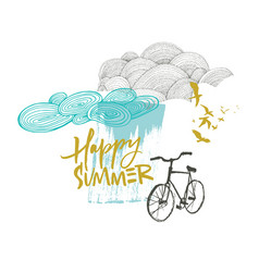 happy summer card with clouds and bicycle vector image