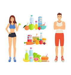 Healthy food woman and man vector