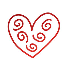 heart decorative element curly swirls vector image