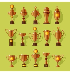 Icons set of silver sport award cups vector