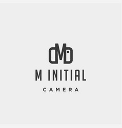 M initial photography logo template design vector