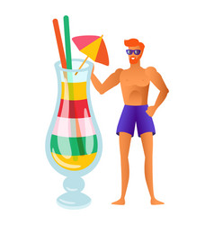 Man wearing swimming suit and cocktail in glass vector