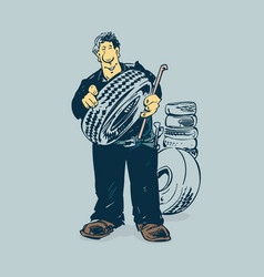 mechanic tireman hold tire cartoon concept vector image