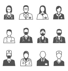 medical staff in uniform with stethoscope icons vector image