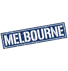 Melbourne blue square stamp vector