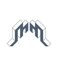 Mm - logo or 2-letter code isometric 3d font vector
