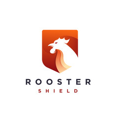 Modern geometric rooster and shield logo icon vector