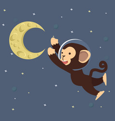 Monkey astronaut with moon in space vector