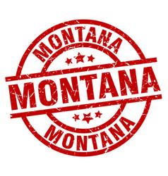 montana red round grunge stamp vector image