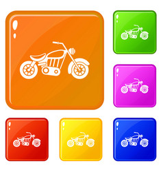 Motorcycle icons set color vector