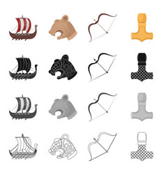 norway viking attributes and other web icon in vector image