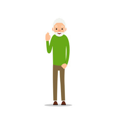 old man elderly man stand with one hands up vector image