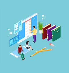 Online survey concept isometric people evaluate vector