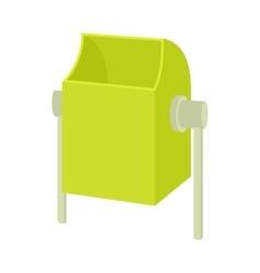 Outdoor green bin icon cartoon style vector image